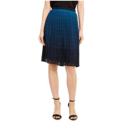 Anne Klein Women's Printed Ombre Sheer Pleated Skirt Dark Blue Size 14