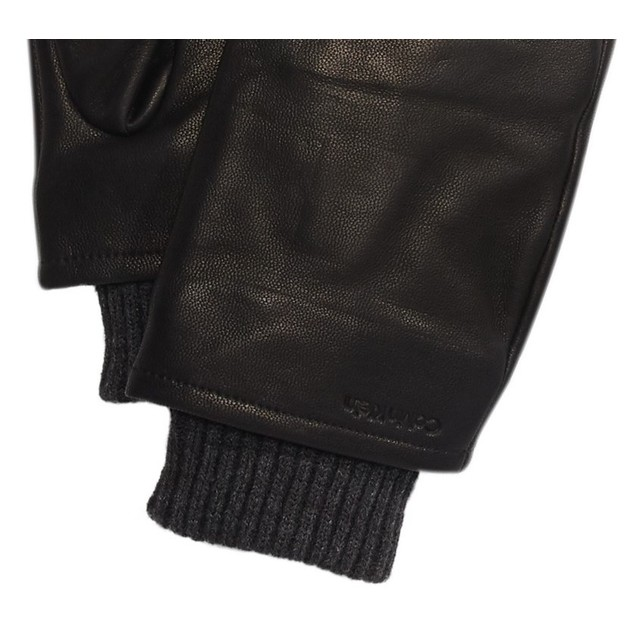 Calvin Klein Men's Leather Touch-Screen Gloves Black - Size Large