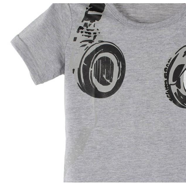 Boy Summer Casual Headphone Short Sleeve Tops Blouses T Shirt