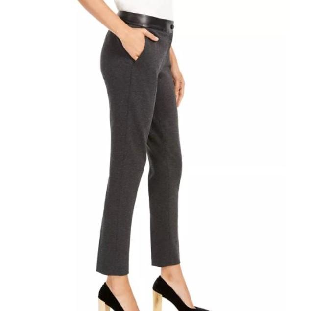 Calvin Klein Women's Faux Leather Trim Slim Leg Pants Dark Grey Size 14