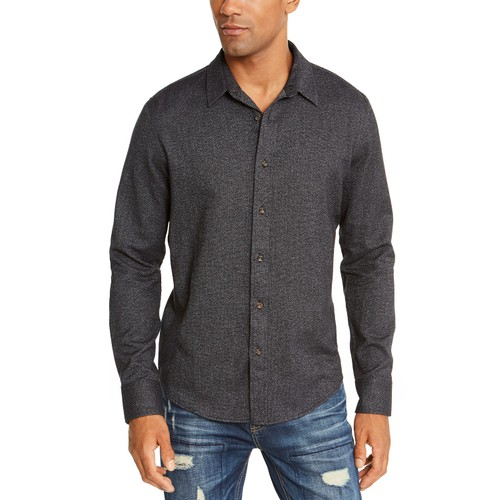American Rag Men's Matt Regular-Fit Brushed Twill Shirt Black Size Large