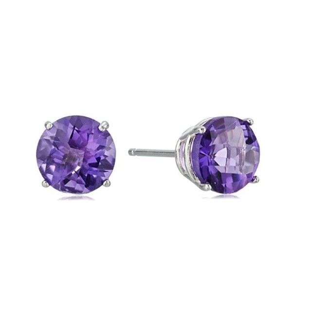 Solid Sterling Silver Round Cut Amethyst Studs