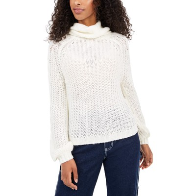Planet Gold Juniors' Cowl-Neck Sweater White Size Small