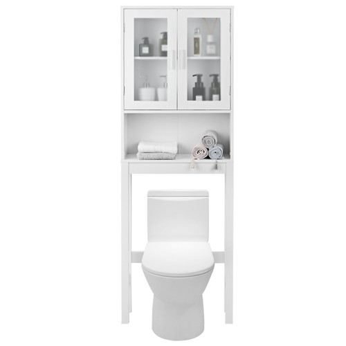 Costway Wooden Over The Toilet Storage Cabinet Spacesaver Organizer Bathroo