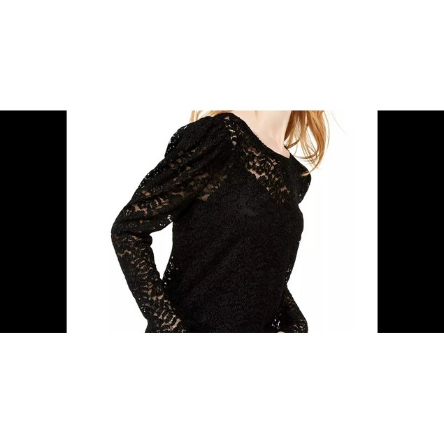 INC International Concepts Women's Lace Top Black Size Large