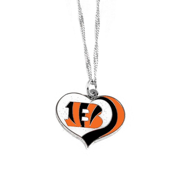 Cincinncati Bengals NFL Glitter Heart Necklace Charm Gift