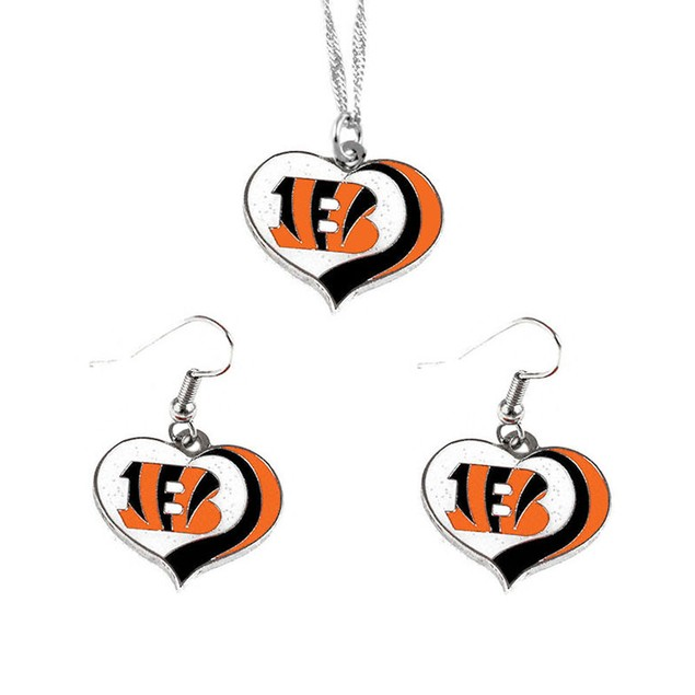 Cincinncati Bengals NFL Glitter Heart Necklace and Earring Set Charm Gift
