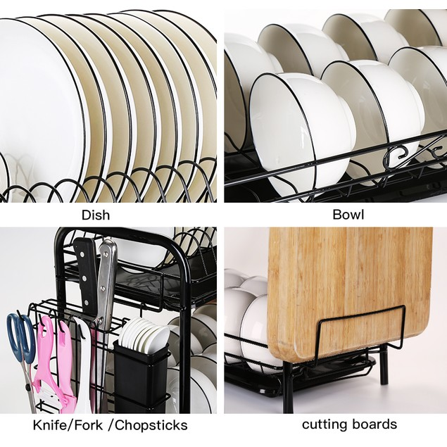 2 TIER DISH RACK WITH UTENSIL HOLDER CUTTING BOARD HOLDER AND DISH DRAINER