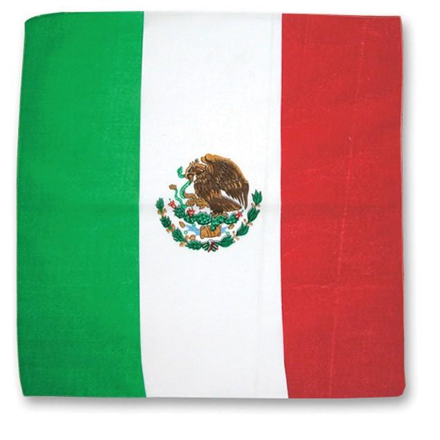 Mexican Flag Bandana Mexico 100% Cotton Head Wrap Scarf Red White Green
