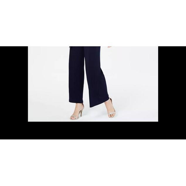 Connected Women's Glitter Illusion Wide-Leg Jumpsuit Dark Pink Size 8