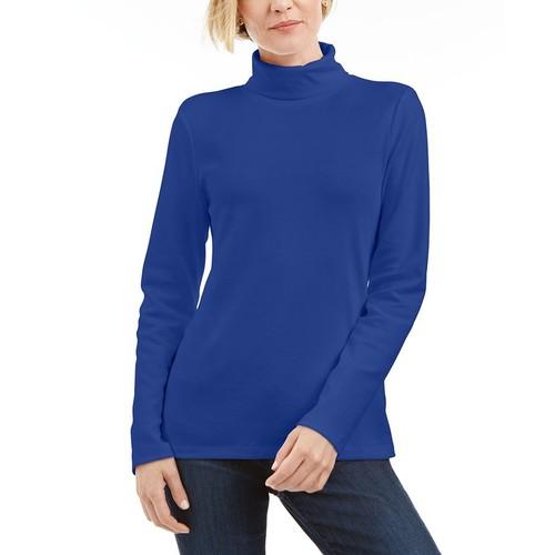 Karen Scott Women's Turtleneck Sweater Blue Size Large