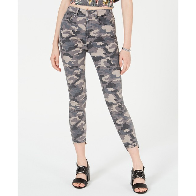 Rewash Juniors' Camo Cropped Skinny Jeans Gray Size 0