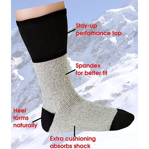12 Pair: Men's Big & Tall Thermal Insulated Crew Socks
