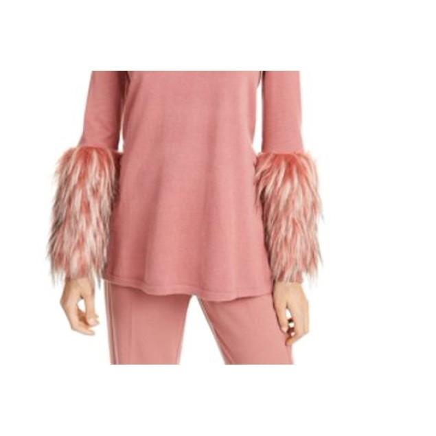 Alfani Women's Faux-Fur-Cuff Mock-Neck Sweater Med Pink Size Medium