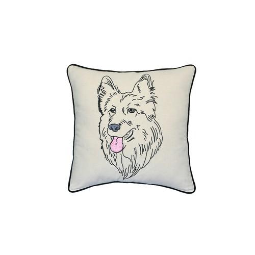 "German Shepherd Portrait Dog Printed Design Novelty White Pillow 15""x15"""