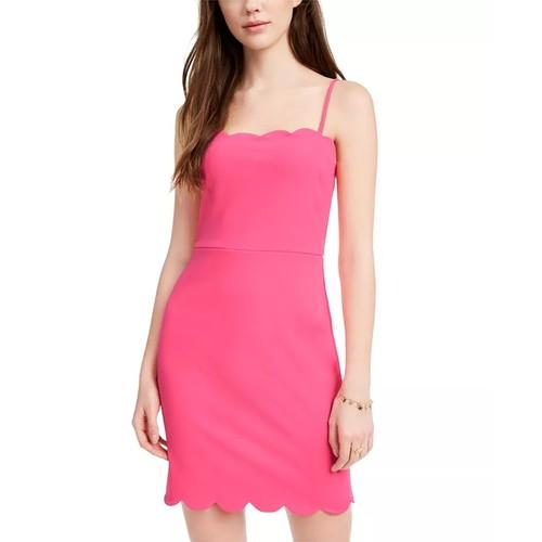 City Studios Junior's Scalloped Bodycon Dress Pink Size 11