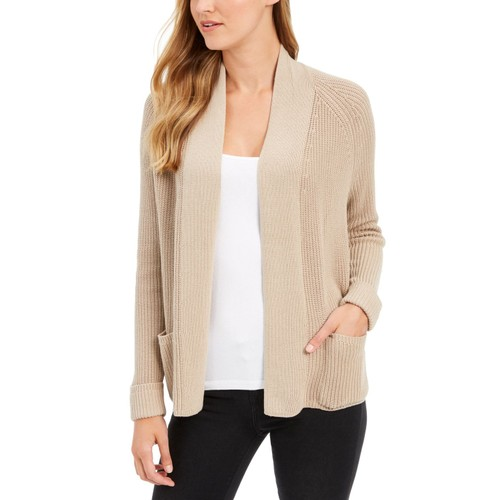 Charter Club Women's Cotton Open-Front Cardigan  Brown Size Large