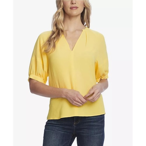 Vince Camuto Women's Split Neck Blouse Yellow Size Small