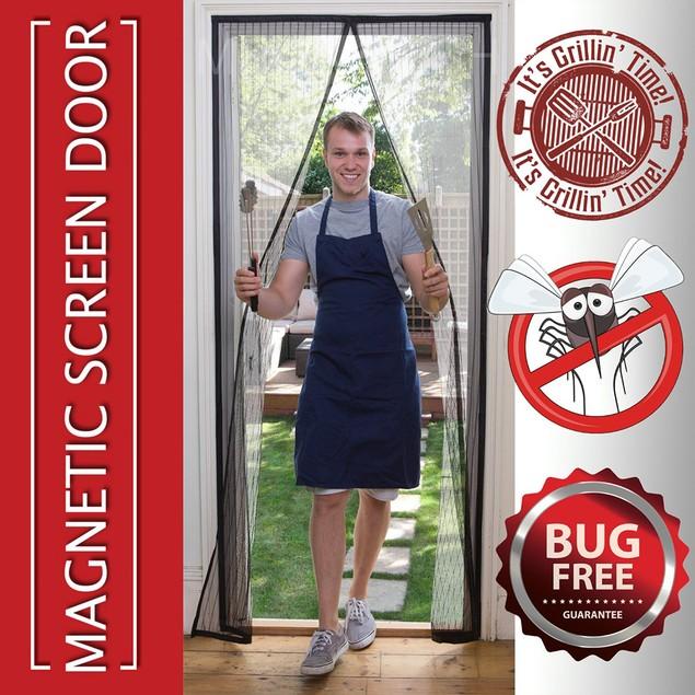 Magnetic Mosquito Screen Door - Mesh Fits Doors Hands Free Magic Closer