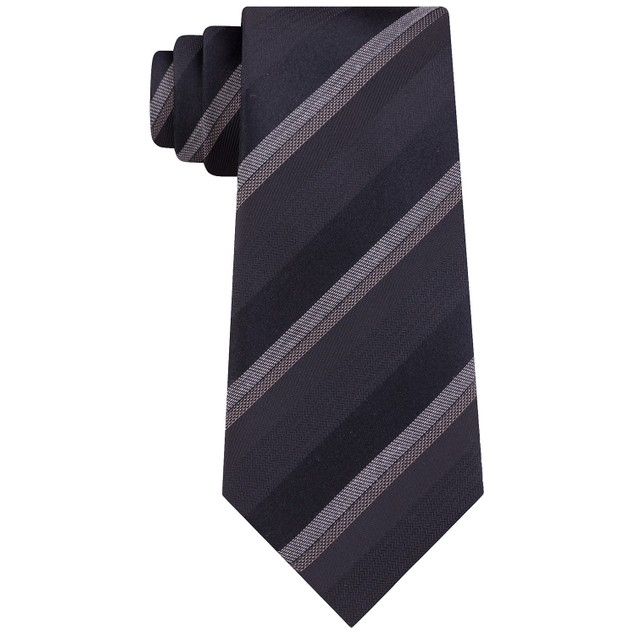 Kenneth Cole Reaction Men's Slim Textured Stripe Tie Black Size Regular