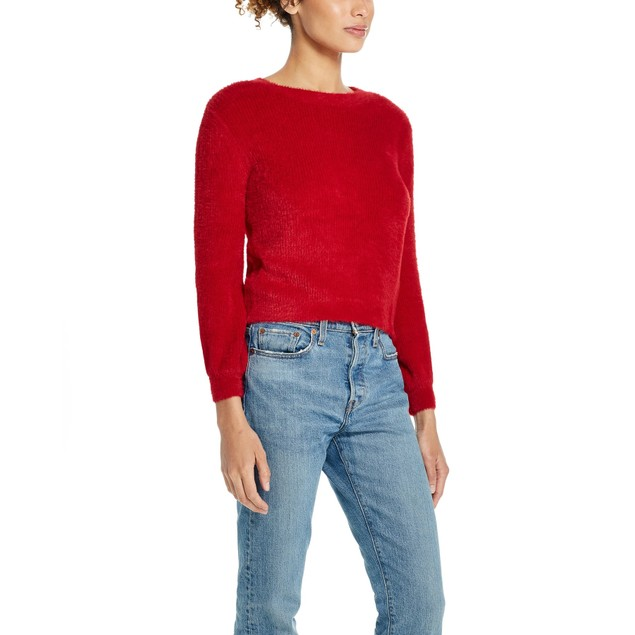 Weatherproof Vintage Women's Pullover Eyelash Sweater Red Size X-Large