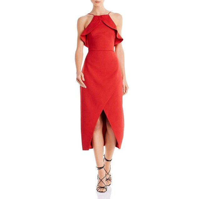 C/Meo Collective Women's Sleeveless Ruffle Trim Midi Sheath Dress, L,