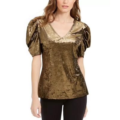 INC International Concepts Women's Velvet Puff-Sleeve Top Gold Size Medium