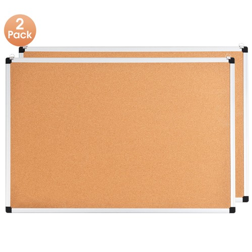 Costway 2 Pack Cork Bulletin Board 24'' x 36'' Wall Mounted Notice Board w/