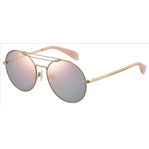 Rag & Bone Women Sunglasses RNB1011S 0000 Rose Gold Round/Oval Multilayer