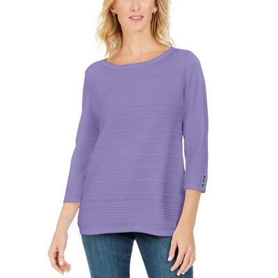 Karen Scott Women's Ribbed 3/4-Sleeve Sweater Purple Size Large