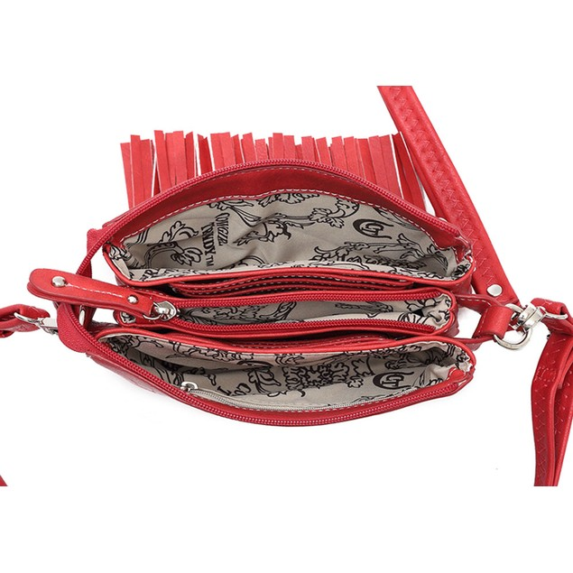 Embroidered Eagle 5 Pocket Fringed Cross Body Bag