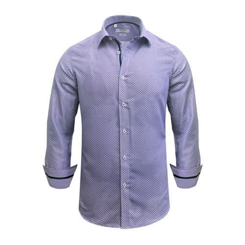 Monza Modern Fit Long Sleeve Lavender Herringbone Dress Shirt