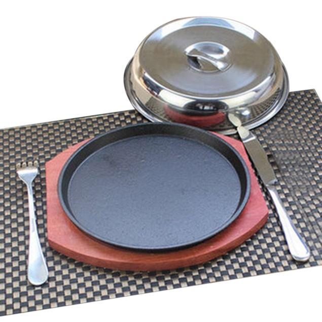 Grilled Fillet Steak rosewood bottom 21cm iron plate Griddle fork