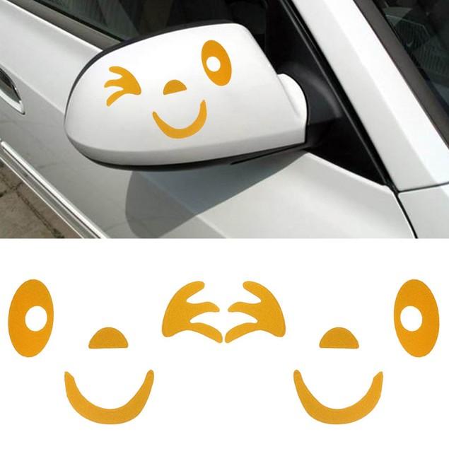 Smile Face Design 3D Decoration Sticker For Car Side Mirror Rearview