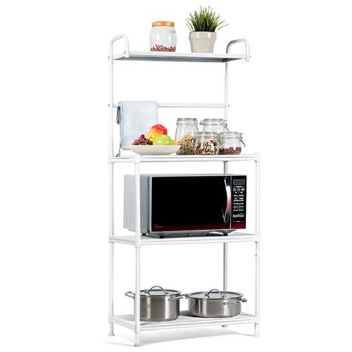 Costway 4-Tier Baker's Rack Microwave Oven Rack Shelves Kitchen Storage Org