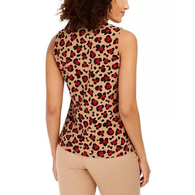 Anne Klein Women's Animal-Print Tie-Neck Top Brown Size 2 Extra Small