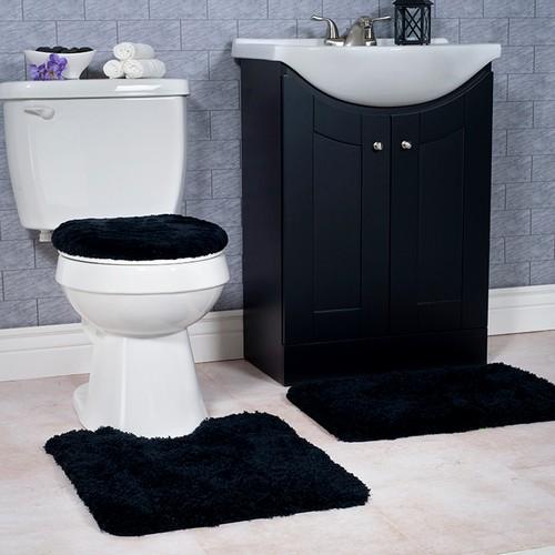 Lavish Home 3 Piece Super Plush Non-Slip Bath Mat Rug Set - Black