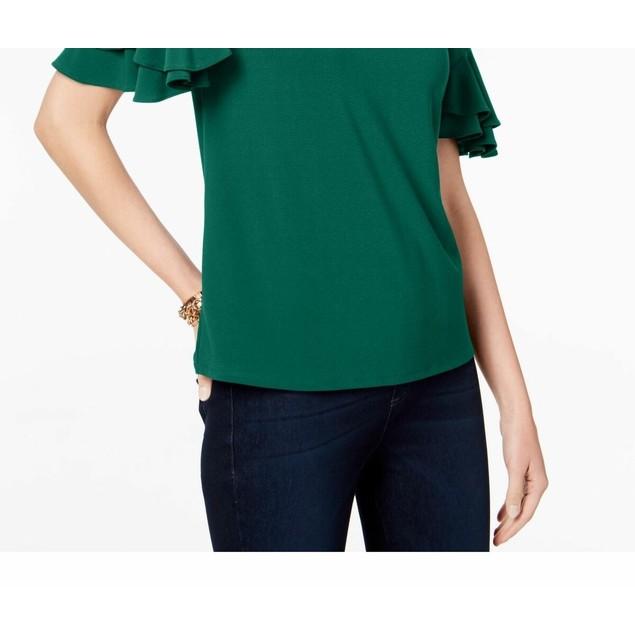 INC International Concepts Women's Ruffled-Sleeve Top Med Green Size Medium