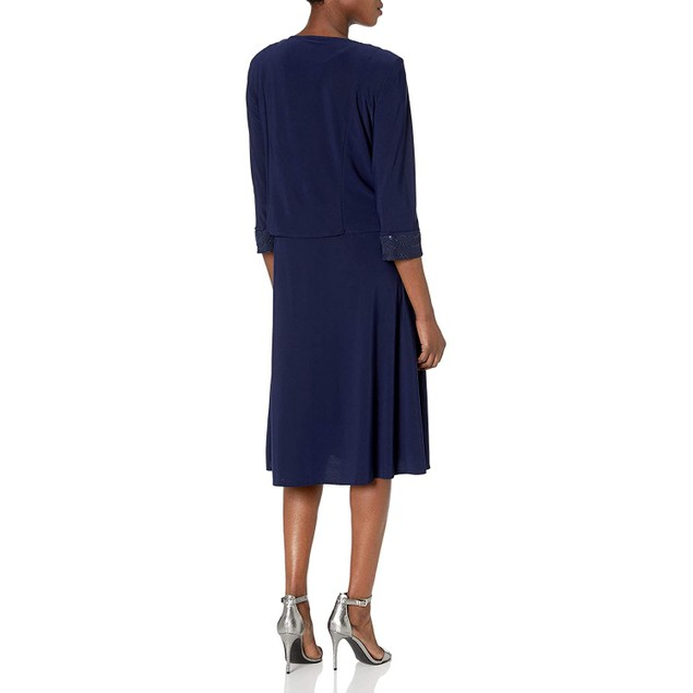 Le Bos Women's Embroidered Body & Trim Jacket Flare Dress, 18, Navy