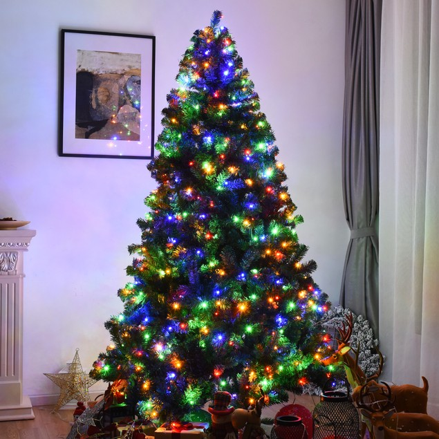 Costway 7.5Ft Pre-Lit Christmas Tree Hinged 550 Multicolor Lights