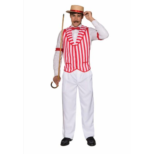 Barber Shop Quartet Vest - STD Barbershop Stripes Singer Red White Costume
