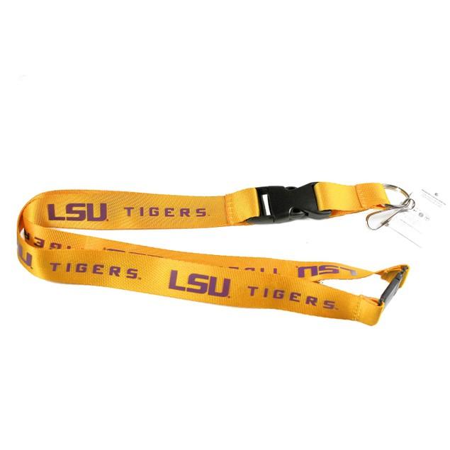 NCAA LSU Tigers Clip Lanyard Keychain Badge Holder - Gold