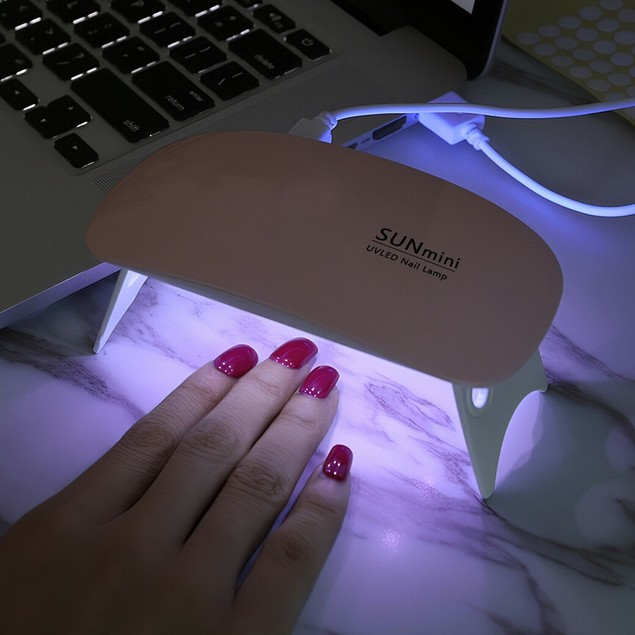 Mini 6W Gel Curing Nail Lamp Salon Light Dryer With Timer Manicure Portable