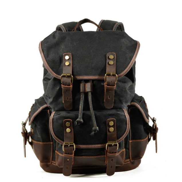 Man and Woman Travel Backpack, Genuine Leather-Waxed Canvas Shoulder Hiking Rucksack