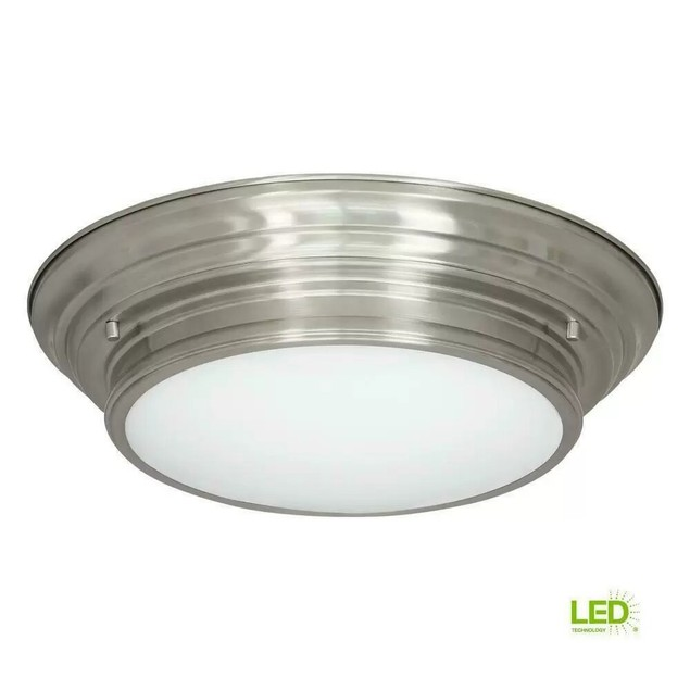 "Progress Lighting Boundless, 17-Watt Brushed Nickel LED Flushmount, 15.25"""