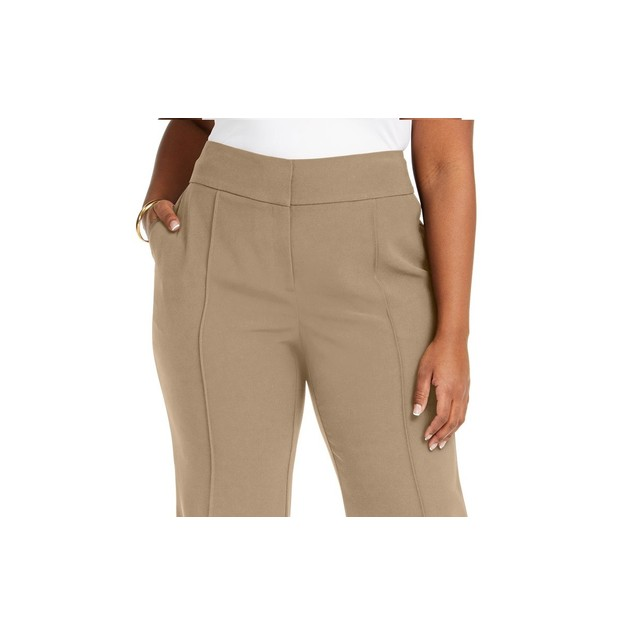 Alfani Women's Plus Size High-Rise Trousers Medium Brown Size Small