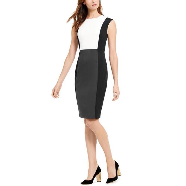 Calvin Klein Women's Petite Colorblocked Sheath Dress Gray Size 2P