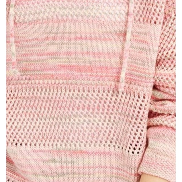 Hooked Up By Iot Women's  Pointelle Hoodie Pink Size Medium