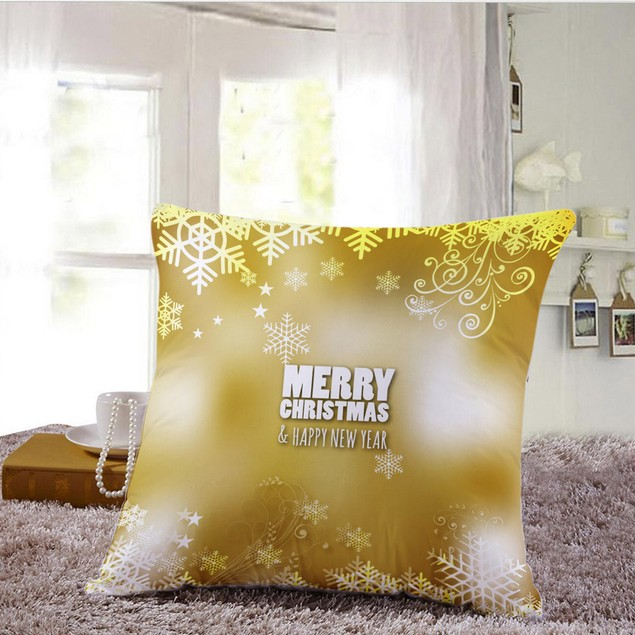 Merry Christmas Pillow Cases Sofa Letter Cushion Cover  Decoration A48