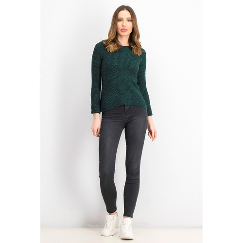Style & Co Women's Petite Marled-Knit Sweater  Green Size Small